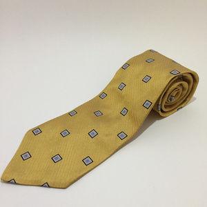 Brooks Brothers 346 Yellow, Blue 100% Silk Tie